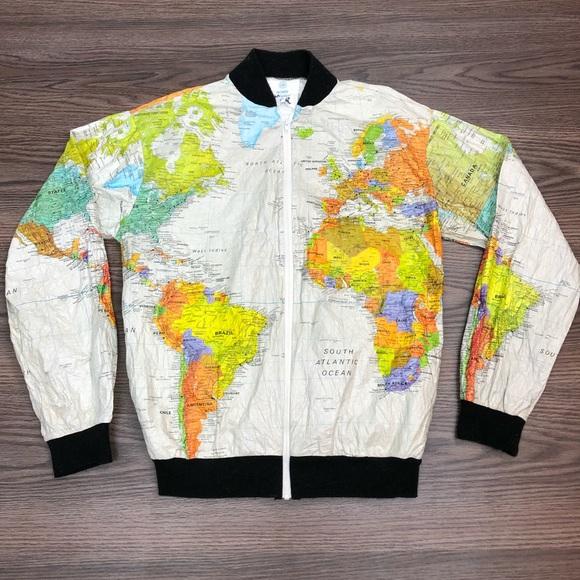 Wearin the World vintage Tyvek Map Jacket S